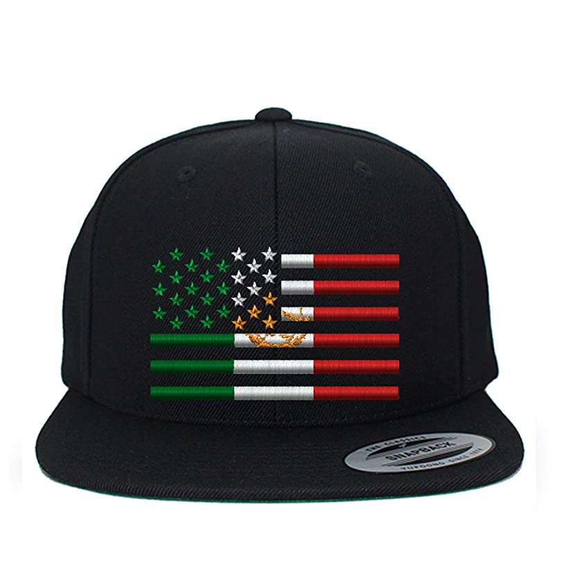 G&B Custom Embroidery USA Mexico Flag Combination Snapback Cap HAT