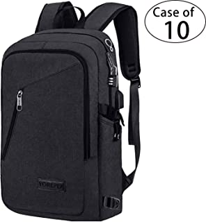 Case of 10, Business Laptop Backpack, YOREPEK Travel School College Bag with Headphone Port and USB Charging Hole, Water Resistant Bookbag for Women/Men, Fits 15.6 Inch Laptop/Tablet in Black