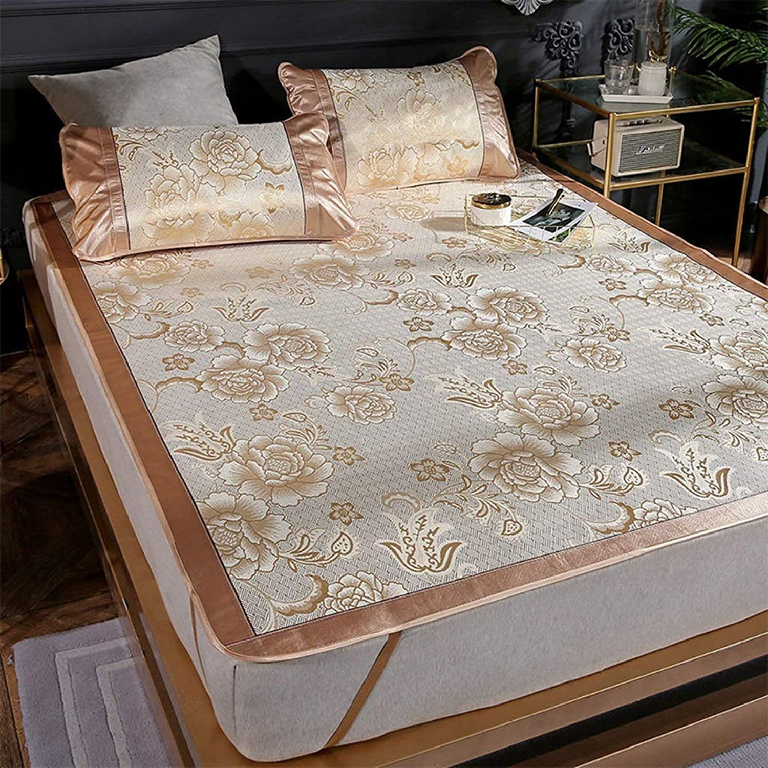 Printed Ice Silk Mat Mat Three-Piece Widened Folding Mat Peony - gold 1.5 M 1.8M Bed (color   gold, Size   180  195cm)