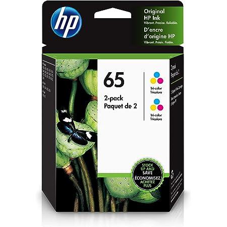HP 65   2 Ink Cartridges   Works with HP Deskjet 2600 Series, 3700 Series, HP ENVY 5000 Series, HP AMP 100, 120, 125, 130   Tri-color   6ZA56AN