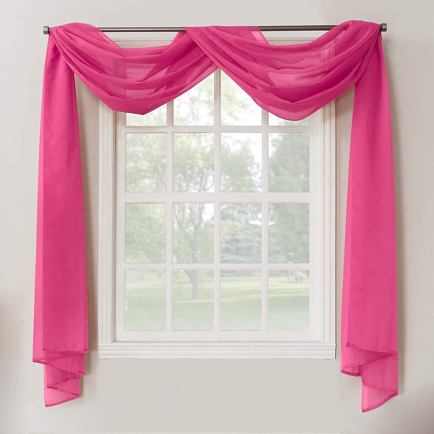 Decotex 1 Piece Sheer Voile Home Decor Fully Hemmed Scarf Valance Swag Topper (37