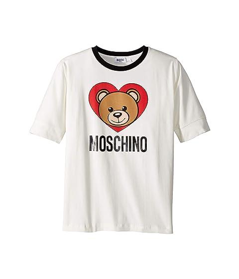 Moschino Kids Short Sleeve Teddy Bear Heart Logo T-Shirt (Big Kids)