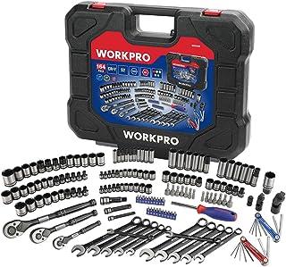 WORKPRO 164-piece Mechanics Tool Kit – Black Oxide Coating Drive Socket Set with..