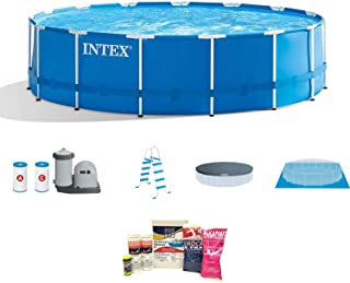 Intex 18ft x 48in Frame Above Ground Pool w/Pump, Ladder, Cover, Cleaning Kit