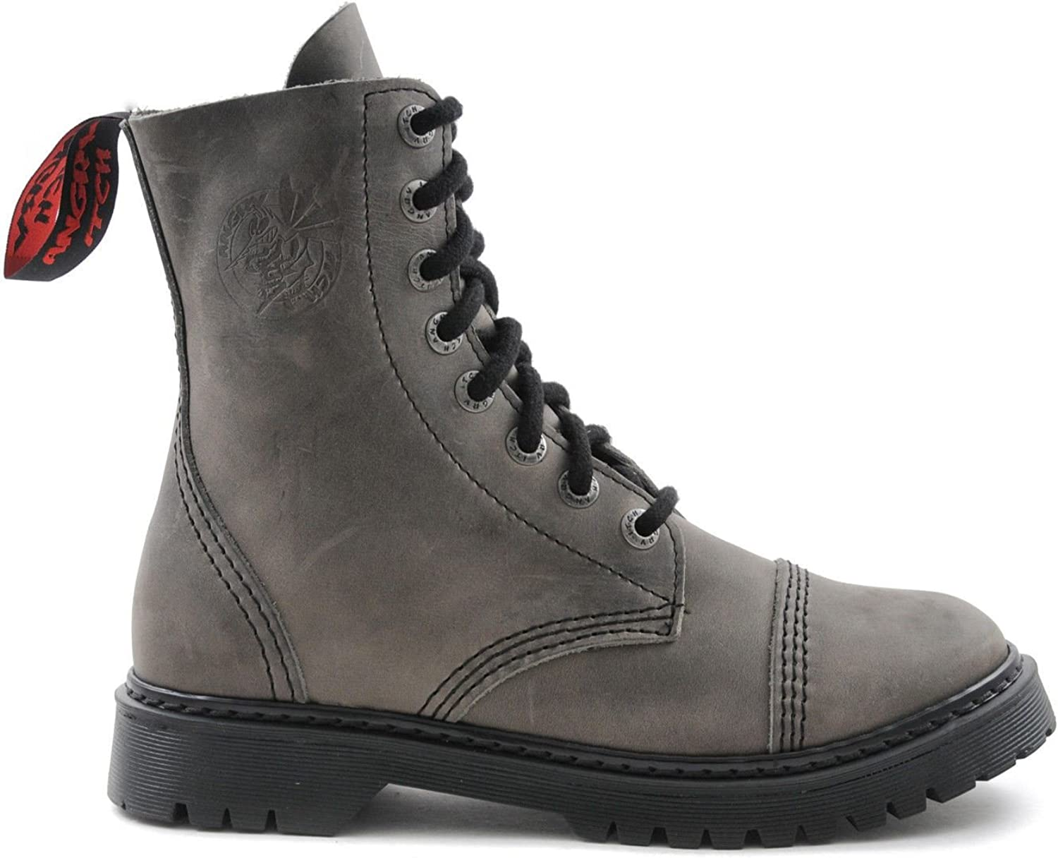 Angry Itch 8 Hole Punk Vintage Grey Leather Army Ranger Boot Light Sole