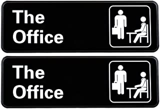 """The Office Sign: Easy to Mount Informative Plastic Sign with Symbols, 9""""x3"""" Sign 2-Pack"""