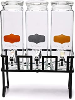 Circleware 92014 Triple Chalkboard Beverage Dispensers with Metal Stand & Spigot, Fun Party Glassware for Water, Iced Tea, Punch, Cold Drinks, 3-80 oz Mason Jars, Copper-Gold-Silver Chalk Panel