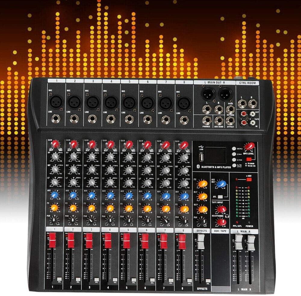 DNYSYSJ 8 Channels Sound Mixing Console Live Studio Audio Mixer USB XLR Phantom for Computer Recording Bands