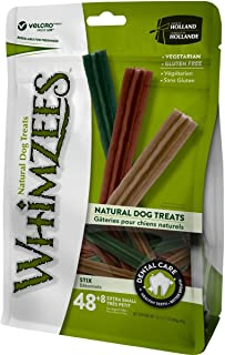 Whimzees Natural Grain Free Dental Dog Treats, Stix Extra Small 48+8pcs 360g+60g