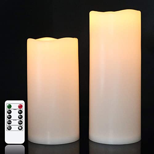 """lowest Eldnacele Waterproof Flameless Flickering Candles with Remote Control and Timer Battery Operated White LED Candles Indoor Outdoor Pillar Candles popular Pack of 2 for Party Wedding Festival 2021 , D4""""x H8"""" 10"""" online"""