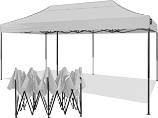 AMERICAN PHOENIX 10x20 Canopy Tent Pop Up Portable Instant Commercial Tent Heavy Duty Outdoor Market Shelter (10`x20` (Black Frame), White)
