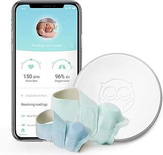 Owlet Smart Sock Baby Monitor + Owlet accesorio Sock 3 tamaños (0-18 meses) – Rastrea la frecuencia cardíaca de tu bebé y los niveles de oxígeno – el mejor monitor para la tranquilidad, Blue Sock Bundle