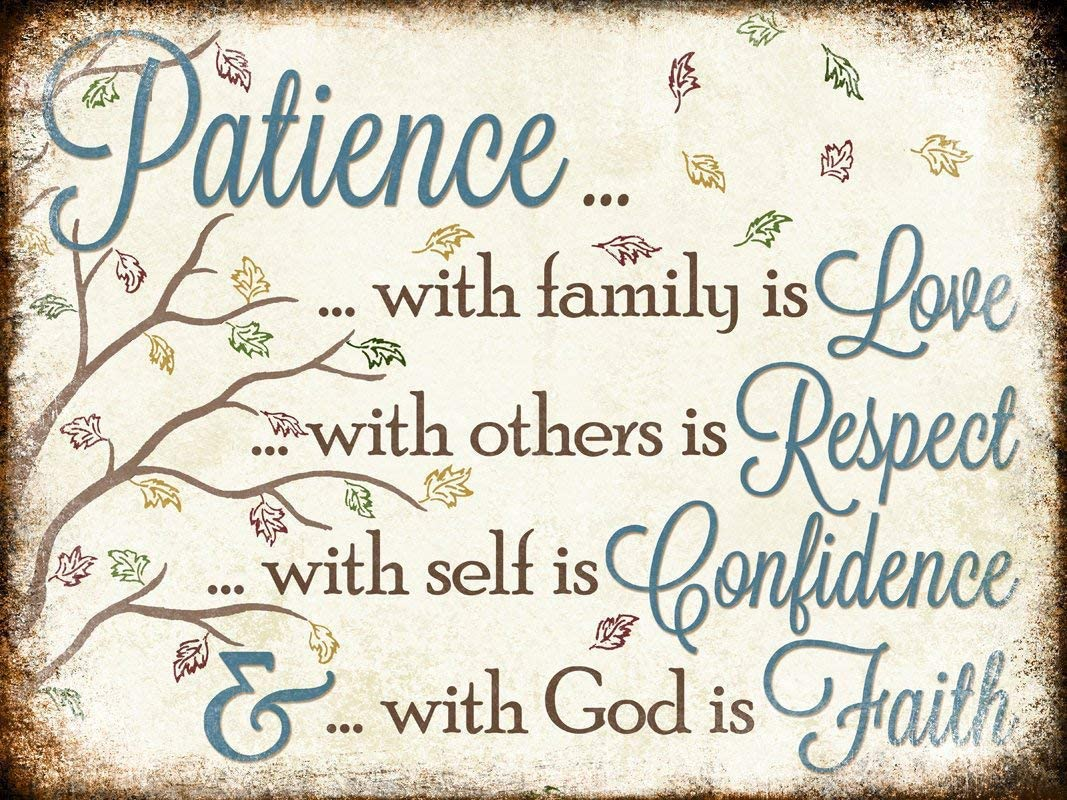 Great Tin Sign Patience with Family is Love, with Other is Respect, with Self is Confidence Sign Aluminum Metal Sign Wall Decoration 12x8 INCH