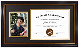 Golden State Art, 11x19.5 Diploma Frame for 8.5x11 Certificate and 5x7 Picture - 2 Openings - Black with Gold Trim and Burgundy Accents - Black Over Gold Double Mat - Real Glass - Wall Mount