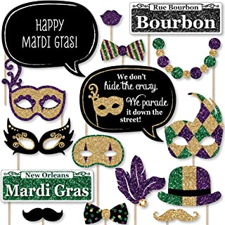 Big Dot of Happiness Mardi Gras - Masquerade Party Photo Booth Props Kit - 20 Count