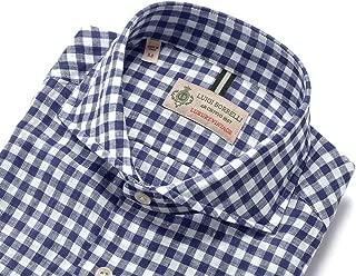 ルイジボレッリ ルイジボレリ LUIGI BORRELLI / 20SS!製品洗いコットンスラブボイルチェックホリゾンタルカラーシャツ「NA35(9057)」 (ネイビー×ホワイト) メンズ
