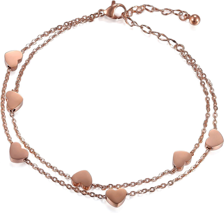 Cupimatch Women Stainless Steel Heart Love Charm Bracelet, Adjus