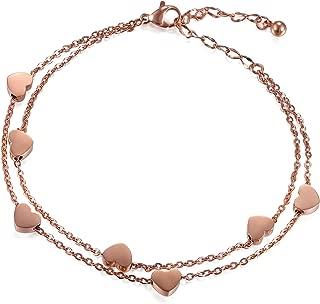 Women Stainless Steel Heart Love Charm Bracelet, Adjustable Wrist Link Chain