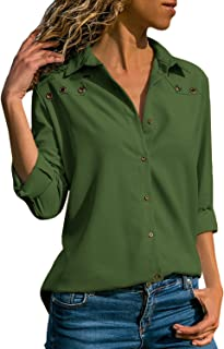 Women's V Neck Long Sleeve Shirts Solid Color Button Down Tops Simple Fit Tunic Blouses
