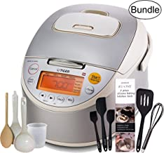 Tiger Corporation JKT-B10U C Induction Heating 5.5-Cup (Uncooked) Rice Cooker and Warmer, Zonoz Premium 5-Piece Silicone Spatula Set & Wooden Spoon (Bundle)