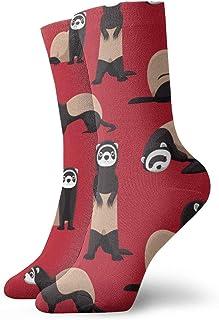 Hangdachang, Los mejores regalos de Navidad para niños Cute Ferret Red Pattern Crew Calcetines deportivos 30 cm de largo calcetines de tubo personalizados calcetines de regalo