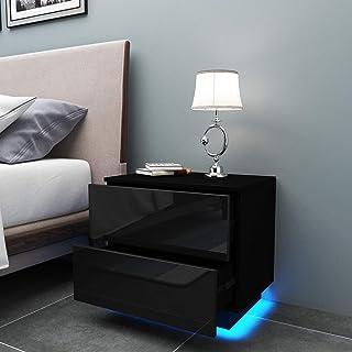 YOLEO Table de Chevet avec l'éclairage LED, Meuble de Rangement Table, Table de Chevet à 2 tiroirs de Style Moderne - (55 ...