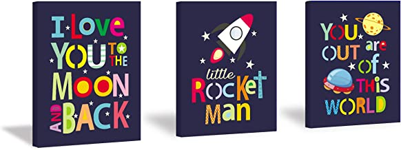 HPNIUB Framed Outer Space Art Print Stars Rocket Planet Painting Set of 3 Pieces (11.8 x 15.6 inch) Canvas Space Quotes I ...