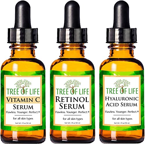 Anti Aging Serum Combo Pack - Vitamin C Serum - Retinol Serum - Hyaluronic Acid Serum - Anti Wrinkle Complete Regimen...