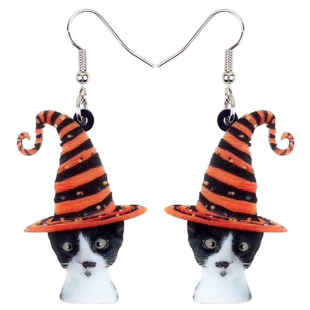 付属品過去購入アクリルハロウィンノベルティ帽子猫のイヤリングドリッピング新しいファッションアニマルジュエリーの恋人のギフト HappyL (Color : Multicolor)