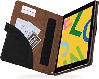 エレコム iPad 10.2 (2019) ケース フラップケース ソフトレザー フリーアングル ツートン ブラック×ブラウン TB-A19RPLFDTBK