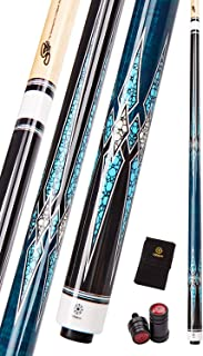 Collapsar CXT Pool Cue with Soft Case,Black with Cream Points and Turquoise,Wrapless Handle 58Inch Professional Pool Stick