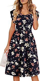 Lamilus Women's Summer Casual Ruffle Sleeve V-Neck Button Down A-Line Swing Dress
