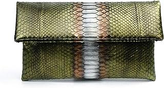 Genuine Metallic Olive Green Python Leather Classic Foldover Clutch Bag