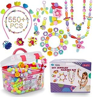 Beads Beads - 500+ قطعه DIY جواهرات سازنده DIY برای کودکان نو پا 3 ، 4 ، 5 ، 6 ، 7 ، 8 ساله ، بچه ها Pop Snap Beads قرار دارند تا مویی ، گردنبند ، دستبند ، حلقه و اسباب بازی خلاقیت برای دختران پسر درست کنند.