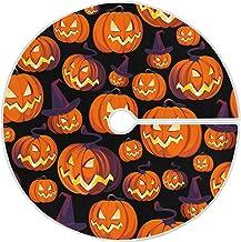 Dussdil Halloween Pumpkin Witch Christmas Tree Skirt 35.4 in Ghost Halloween Tree Skirts Holiday Party Floor Door Mat Rug ...