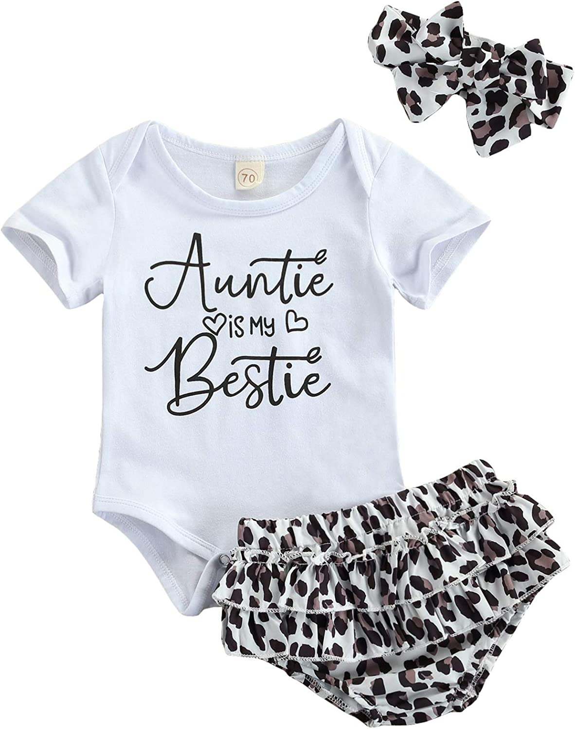 Auntie is My Bestie Baby Girl Outfit Short Sleeve Letter Print Romper Leopard Bloomers Shorts Headband Summer Clothes