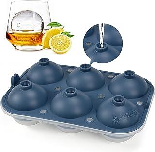 Eiswürfelform Silikon XXL Kugeln 60mm Eiskugelform 6 Eiskugel mit Deckel BPA FREI Eiswürfelbehälterfür Whisky, Cocktails Blau, 1 Stück