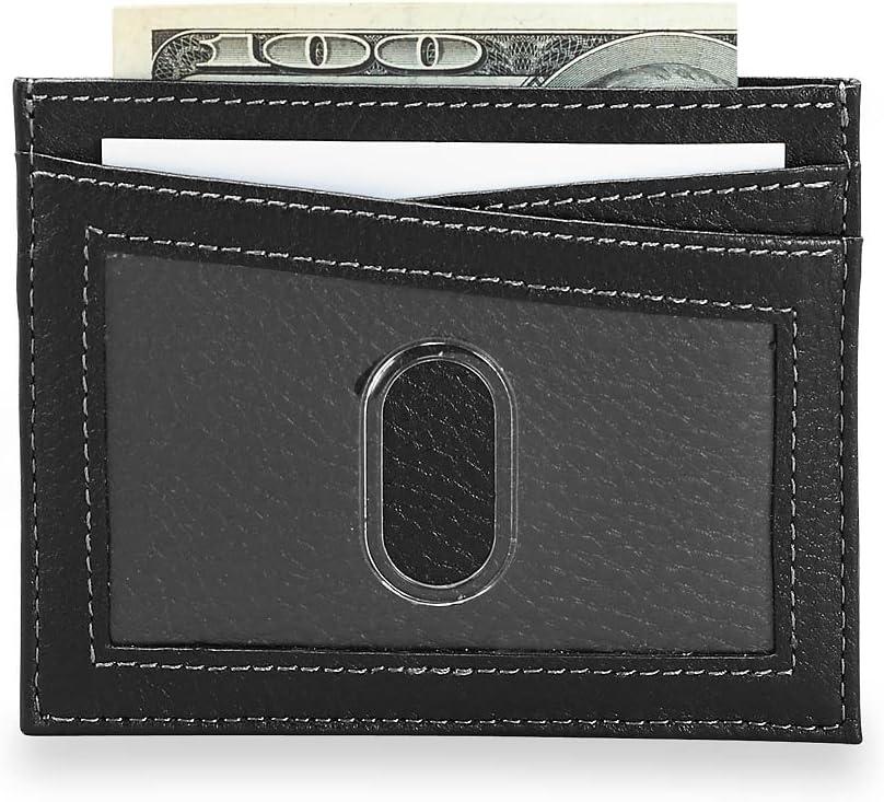 Levenger RFID Blocking Leather Bomber Jacket Front Pocket Wallet for Men,Credit Card Protector