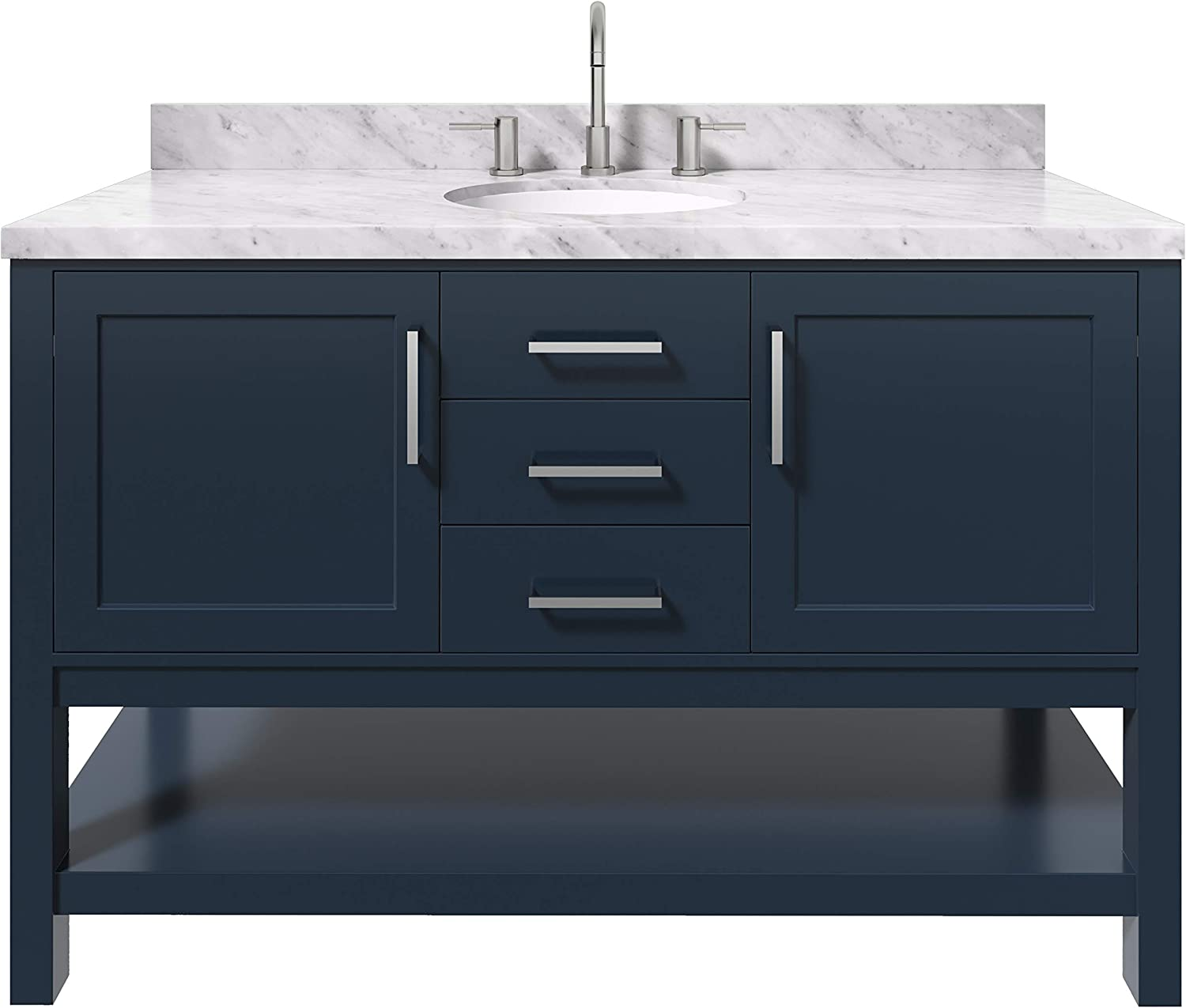 Amazon Com Ariel Bayhill 55 Inch Bathroom Vanity In Midnight Blue W 1 5 Edge Carrara Marble Countertop Oval 2 Soft Closing Doors And 2 Dovetail Full Extensions Drawers Open Storage