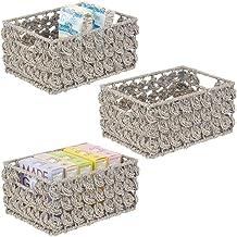 mDesign Rangement Placard ou étagère (Lot de 3) – Panier Rangement avec étiquette en Jacinthe d'eau – Boite de Rangement a...