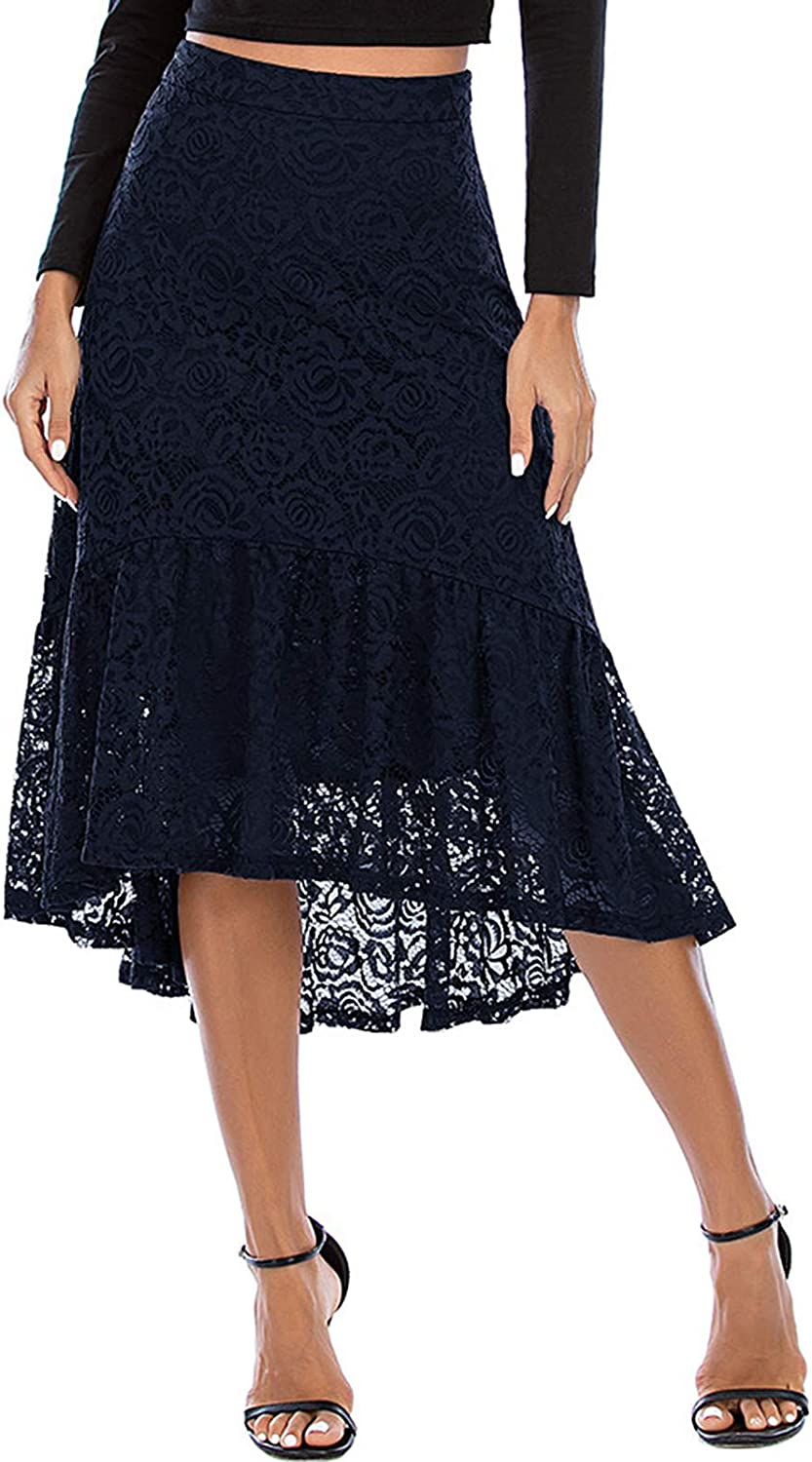 Bridesmay Women's Lace Skirt High Waist Midi High Low Basic Skirts for Work, Date, Party