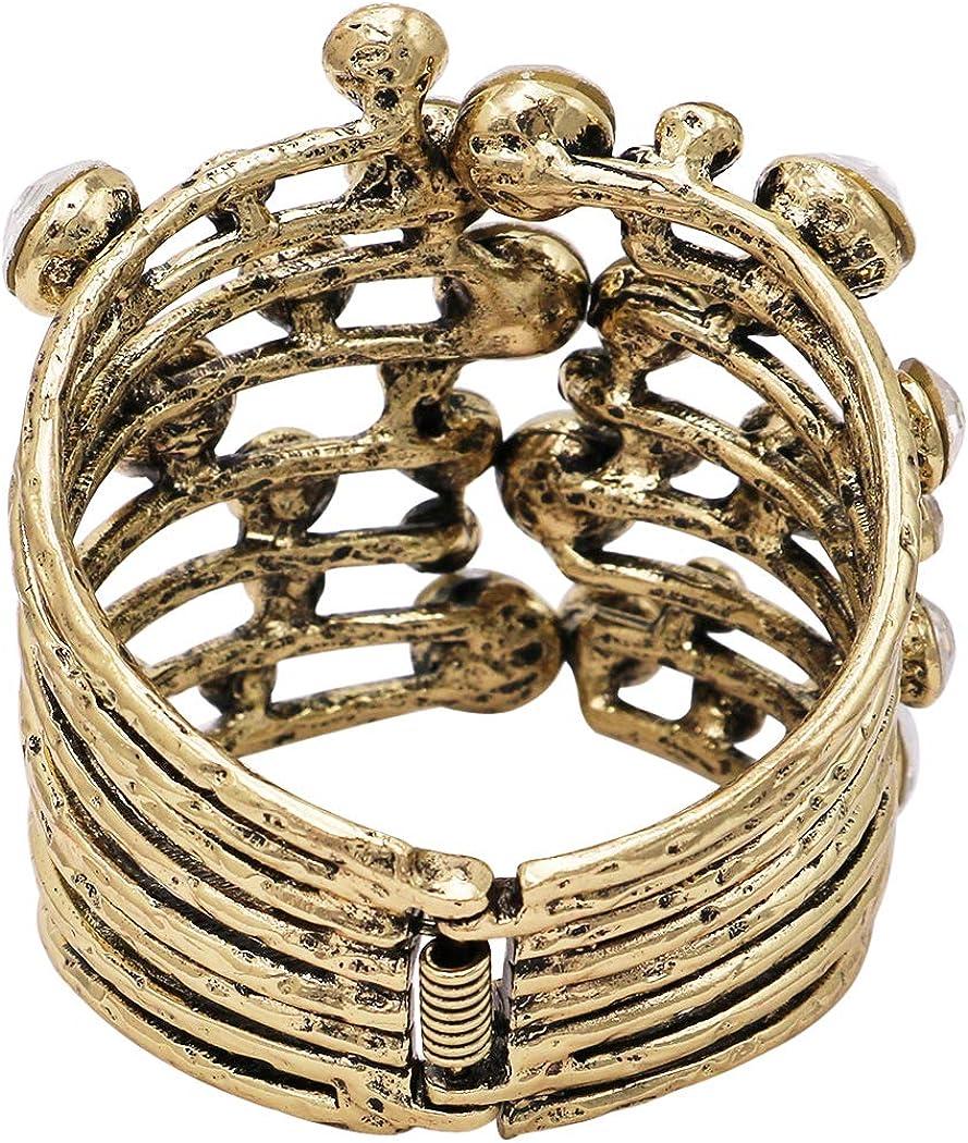 Rosemarie & Jubalee Women's Extra Large Statement Textured Metal Crystal Rhinestone Hinged Wrap Cuff Bangle Bracelet