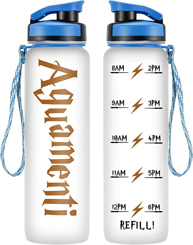 LEADO 32oz 1Liter Motivational Water Bottle With Time Marker Aguamenti HP Fans Merchandise Funny Potterhead Birthday Gifts For Women Men Mom Dad Husband Wife Friend Drink More Water Daily