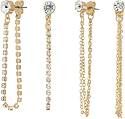 Stone Studs and Front to Back 6-Pair Ear Set Earrings