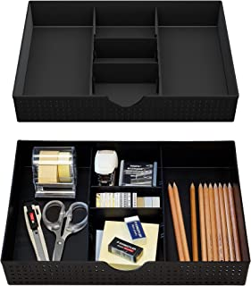 CAXXA 2 Pack 3 Slot Drawer Organizer with Two Adjustable Dividers - Junk Drawer Storage for Office Desk Supplies and Acces...