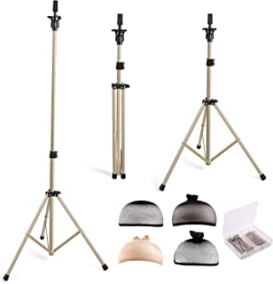 HYOUJIN Golden Wig Stand Metal Adjustable Mannequins head Wig Head Training Head Cosmetology Hairdressing Tripod Stand for Hair Extensions Canvas Block Wig Head (Golden)