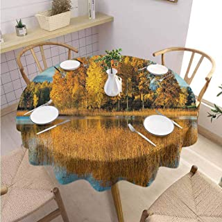 BNAREO Restaurant Round Tablecloth Nature Rural Countryside in October Parties Wedding Patio Dining D47
