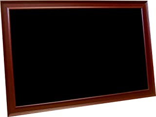 billyBoards 42X60 chalkboard. Red mahogany frame finish. 12 inch self stick chalk tray included. Wood composite writing panel- black. 2 inch wide MDF frame.