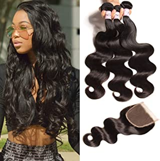 UNice Hair Icenu Series 8a Indian Body Wave Hair 3 Bundles With Lace Closure,100% Unprocessed Human Hair Extensions Weave (16 18 20+14 Free Part Closure)