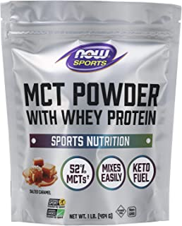 Now Sports Nutrition, MCT Powder with Whey Protein Isolate, 52% MCTs, Salted Caramel, 1-Pound